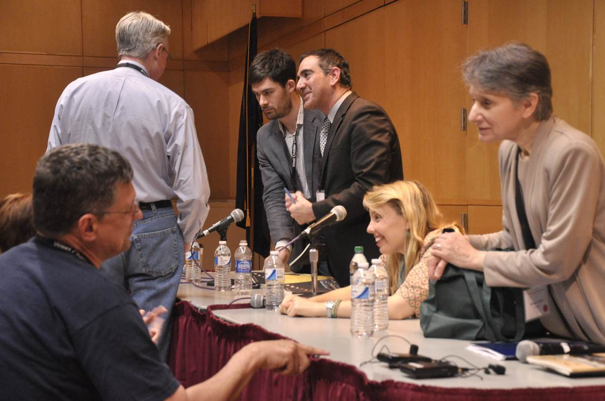 Annabelle Moseley at the 2012 WCU First Books Panel with Maryann Corbett, Aaron Poochigian, and Matthew Buckley-Smith