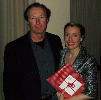 Annabelle Moseley receives the MFA Graduate Achievement Award from Michael White